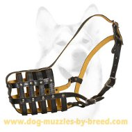 Nappa padded Basket-like Leather Dog Muzzle