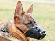 Leather Safety Dog Muzzle,No Bite, No Bark for German Shepherd