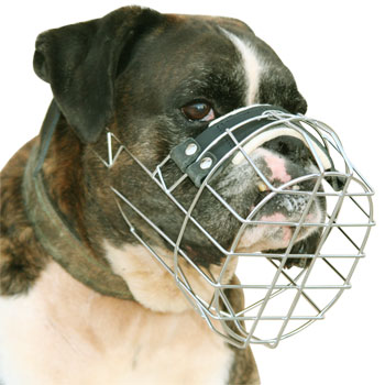 Wire Cage Dog     Muzzle for Boxer - Boxer Basket Dog Muzzle - M9