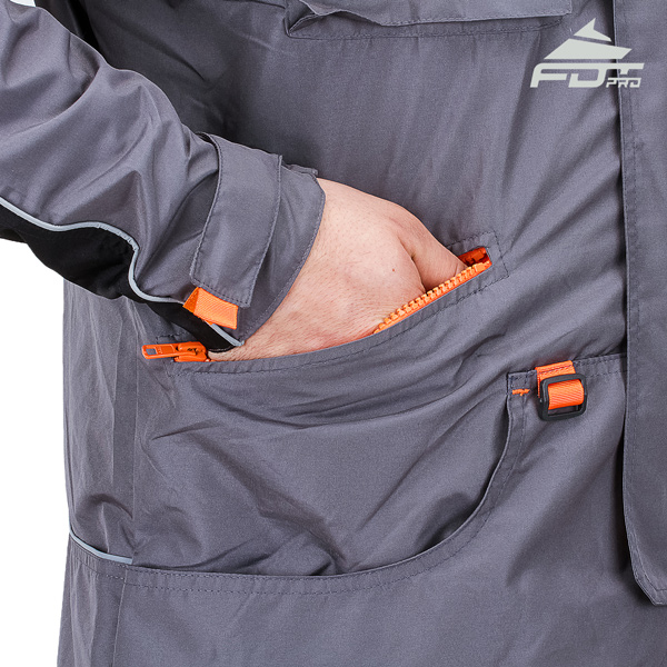Grey Color Professional Design Dog Training Jacket with Handy Side Pockets