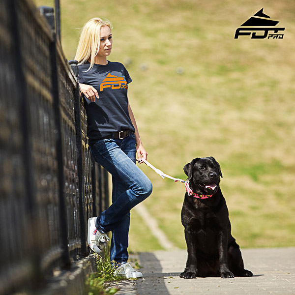 Dog Walking Women T-shirt of Best Quality Cotton